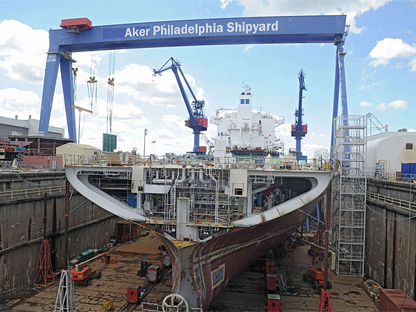 A ship under construction in the dry dock at the Aker shipyard in August 2013 at the Navy Yard in South Philadelphia. (Clem Murray / Staff Photographer)
