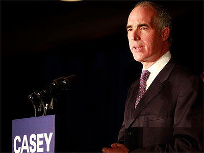 Sen. Bob Casey speaks to his supporters in Scranton after being reelected, defeating Tom Smith. (David Swanson / Staff Photographer)