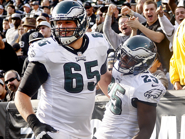 Eagles offensive lineman Lane Johnson and running back LeSean McCoy. (Ron Cortes/Staff Photographer)