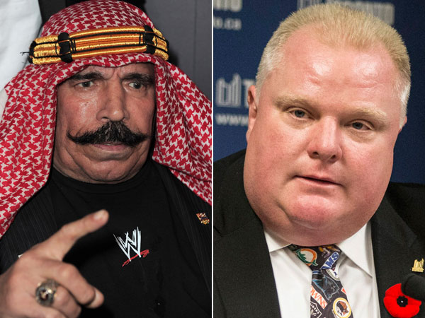 The Iron Sheik (left) wants to make Rob Ford humble. (Photo by Jordan Strauss/Invision/AP Images) (AP Photo/The Canadian Press, Chris Young)
