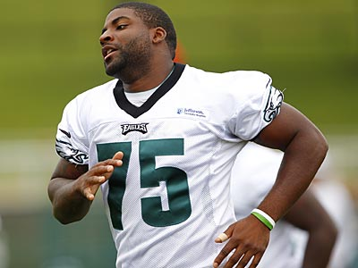 Eagles defensive end Vinny Curry (75) sprints during the teams NFL football training camp at Lehigh University in Bethlehem, Pa, Sunday, July 29, 2012. (AP Photo/Rich Schultz)