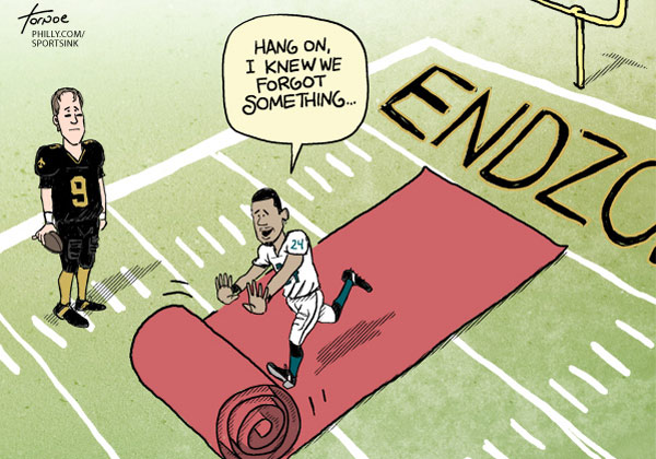 Dominique Rodgers-Cromartie told reporters on Thursday that the Eagles defense is getting mocked by opposing players. (Cartoon by Rob Tornoe)