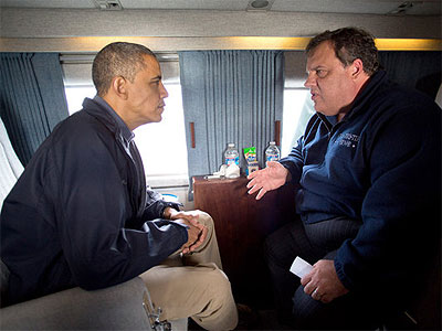 New Jersey Gov. Chris Christie tours his Hurricane Sandy ravaged state with President Barack Obama. (AP Photo)