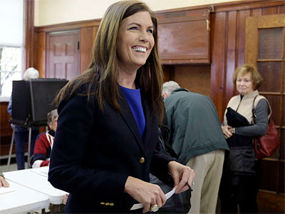 Kathleen Kane after voting in Waverly, Pa. The incoming attorney general says she plans to shake up the business-as-usual atmosphere of Harrisburg. (Matt Slocum / Associated Press)