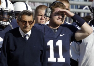 Penn State quarterback Matt McGloin (11) with head coach Joe<br />Paterno on the sidelines during the Iowa game in October. On Nov. 7, McGloin tweeted that &quot;allegations and scandal&quot; would not affect the team&acute;s focus on beating Nebraska and winning the Big 10 title. (GENE PUSKAR / Associated Press)