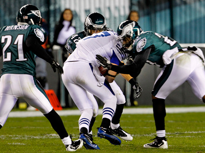 This hit on Austin Collie in the Eagles´ win over the Colts last season was heavily debated. (Ron Cortes / Staff Photographer)