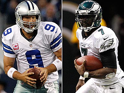 Cowboys quarterback Tony Romo and Eagles quarterback Michael Vick lead their 3-5 teams into an NFC East clash Sunday. (Staff and AP Photos)