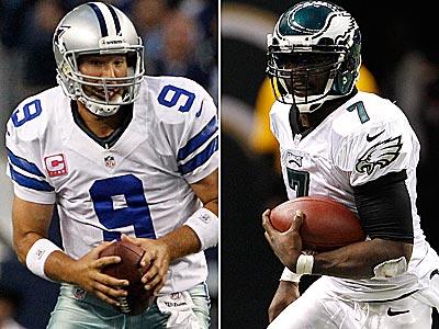 Cowboys quarterback Tony Romo and Eagles quarterback Michael Vick lead their 3-5 teams into an NFC East clash Sunday. (Staff and AP Photos)
