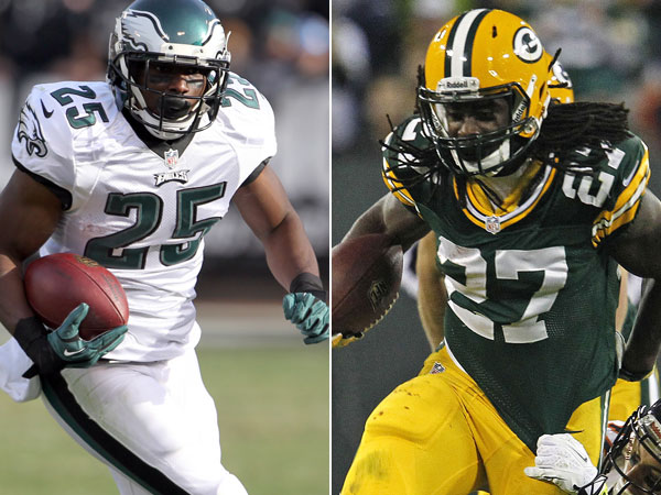 Eagles running back LeSean McCoy and Packers running back Eddie Lacy. (Yong Kim/Staff Photographer) (Matt Ludtke/AP)