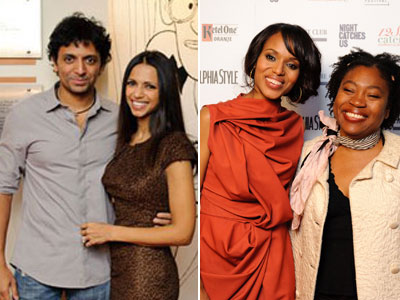 From left, Director M. Night Shyamalan with his wife, Bhavna; Kerry Washington with Director Tanya Hamilton of ´Night Catches Us´ at the Philadelphia Film Festival. (Photos / Lorraine Daley)