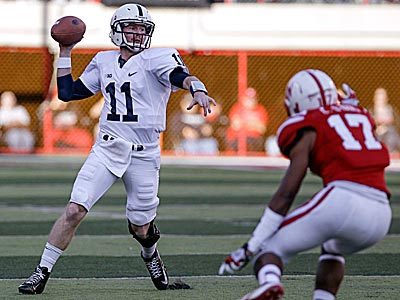 Penn State quarterback Matt McGloin looks to pass against Nebraska. (Nati Harnik/AP)