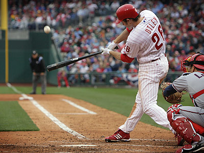 Chase Utley recorded a .290 batting average during the 2008 regular season, including 33 home runs and 41 doubles. (Jerry Lodriguss/Staff Photographer)