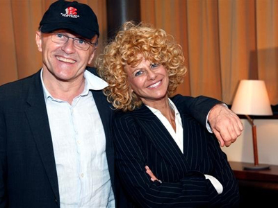 Sharon Pinkenson, film office chief since '92, with director Danny Boyle, has urged state officials to increase tax breaks for filmmakers working in the state. (Source: Greater Philadelphia Film Office)