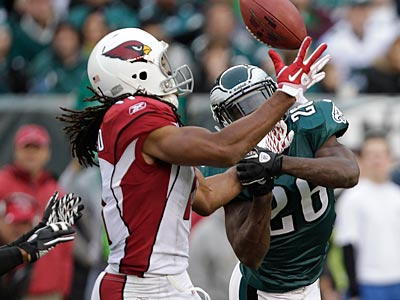 Eagles safety Jaiquawn Jarrett (26) found himself matched up on Larry Fitzgerald a little too much on Sunday. (David Maialetti/Staff Photographer)