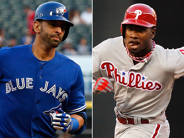Blue Jays outfielder Jose Bautista (left) and Phillies outfielder <br />Domonic Brown (right). (AP Photos)