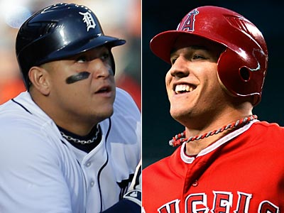 The Detroit Tigers´ Miguel Cabrera (left) and the Los Angeles Angels´ Mike Trout (right). (AP Photos)