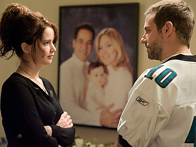 "Bradley Cooper and Jennifer Lawrence star in ""Silver Linings Playbook."" The film received 8 Oscar nods, including Cooper as best actor Thursday morning."