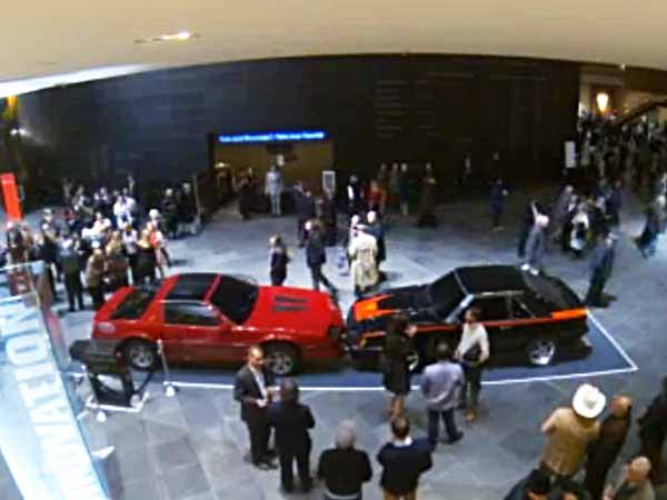 At the Kimmel Center, these two cars are crashing at a glacial pace. (Photo via livestream)