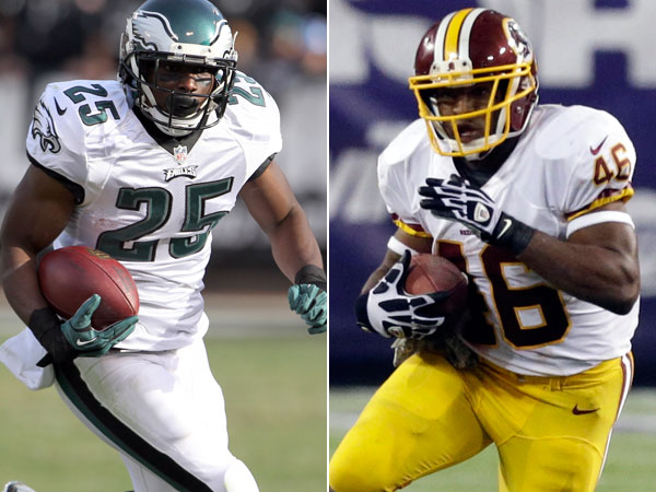 Eagles running back LeSean McCoy and Redskins running back Alfred Morris. (Yong Kim/Staff Photographer) (Jim Mone/AP)