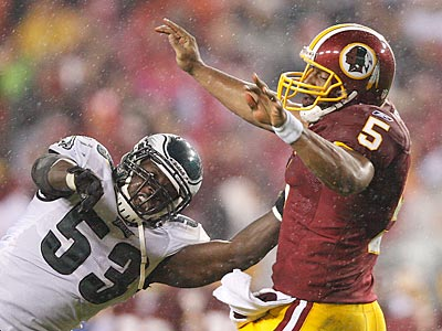 Donovan McNabb threw three interceptions in last night´s loss to the Eagles. (David Maialetti/Staff Photographer)
