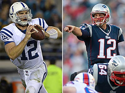 Tom Brady and Andrew Luck will face each other for the first time Sunday. (AP Photos)