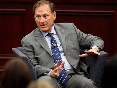 In this Sept. 14, 2012 file photo, Supreme Court Associate Justice Samuel Alito speaks at Roger Williams University Law School in Bristol, R.I.  (AP Photo / Stephan Savoia, File)