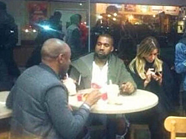 Kanye West and Kim Kardashian at Wendy´s on 15th and Chestnut. (Photo via Instagram)