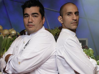 "Chefs Jehangir Mehta (right) and Jose Garces will compete on the finale of ""The Next Iron Chef."" (Food Network)"