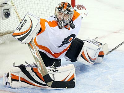 Flyers goaltender Sergei Bobrovsky has started 11 consecutive games in net. (AP Photo/Ryan Remiorz)