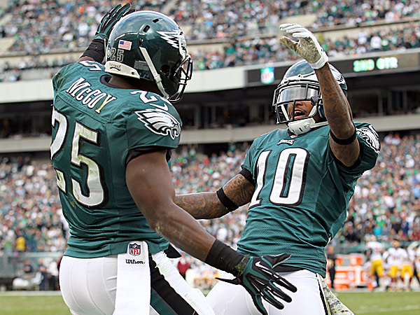 Eagles running back LeSean McCoy and wide receiver DeSean Jackson. (Yong Kim/Staff Photographer)