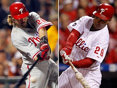 Despite having a lower batting average and less home runs, Raul Ibanez only had two less RBI than Jayson Werth in 2010. (Staff file photos)