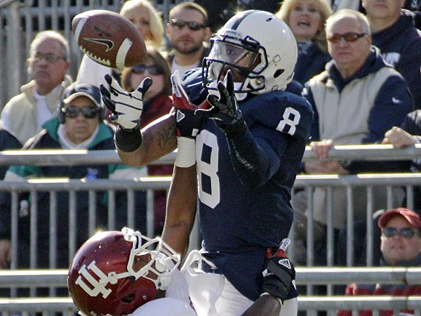 Penn State wide receiver Allen Robinson (8) catches a pass over<br />Indiana cornerback Brian Williams (7) for a touchdown during the first<br />quarter of an NCAA college football game in State College, Pa.,<br />Saturday, Nov. 17, 2012. (AP Photo/Gene J. Puskar)
