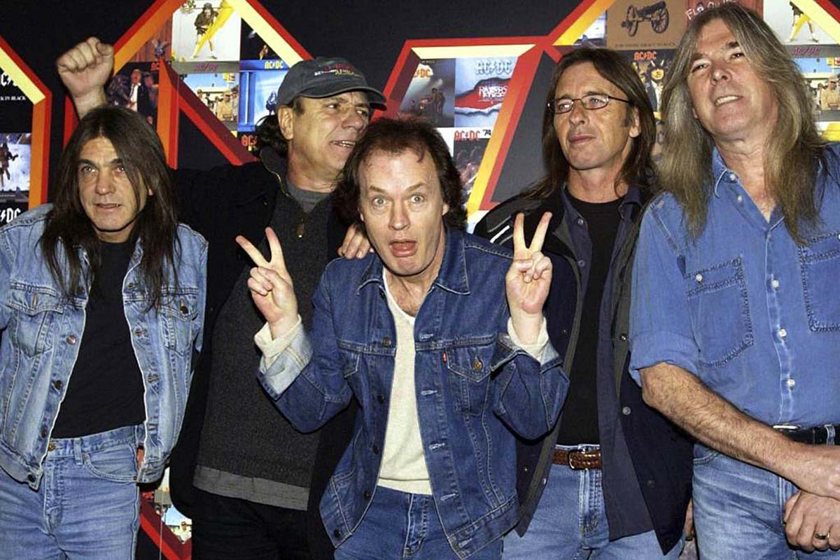A March 3, 2003 file photo of from left: Malcolm Young, Brian Johnson, Angus Young, Phil Rudd and Cliff Williams from AC/DC posing for photographers at the Apollo Hammersmith in London. The band has announced, Saturday Nov. 18, 2017,  that 64-year-old Young has died.