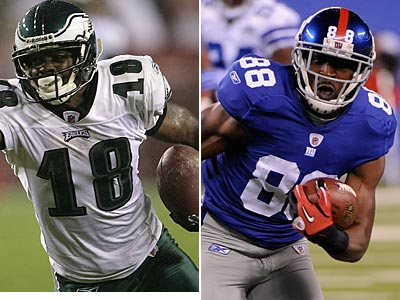 Eagles Jeremy Maclin and Giants Hakeem Nicks lead their teams in touchdown receptions. (Staff and AP Photo)