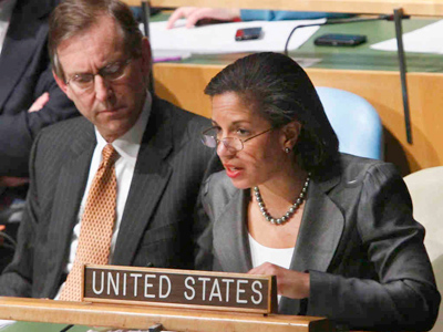 "U.S. Ambassador Susan Rice speaks in the U.N. General Assembly. She said Gadhafi ""has lost any legitimacy to rule."" (Associated Press File Photo)"