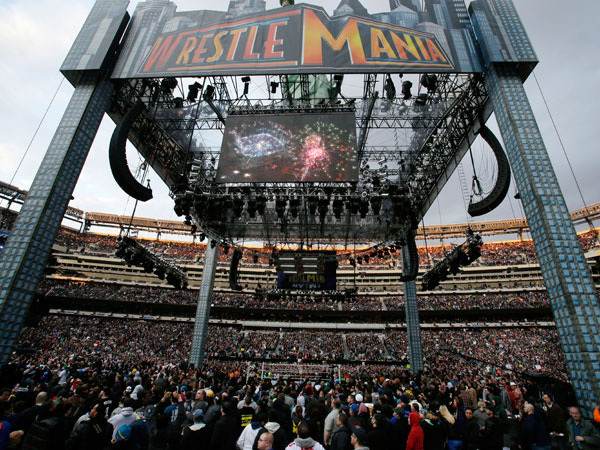 A huge tower is seen Sunday, April 7, 2013, in East Rutherford, N.J., during the WWE Wrestlemania 29 event. (Mel Evans/AP file)