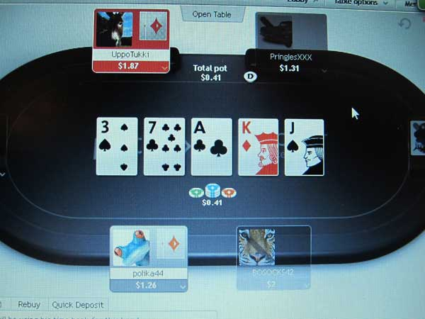 A computer screen in Atlantic City N.J. shows a game of online poker in progress Nov. 19, 2013 on the global partypoker.com site. The site´s parent company, bwin.party, is partnered with Atlantic City´s Borgata Hotel Casino & Spa and will begin offering a test of Internet gambling to New Jersey residents on Nov. 21. Company officials say the global site is very similar to what New Jersey residents will experience when they log on. (AP Photo/Wayne Parry)