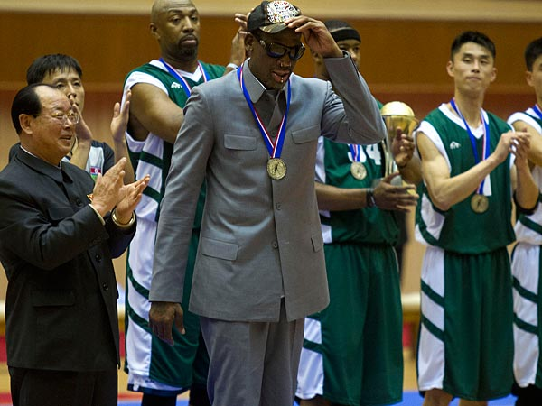 Dennis Rodman is presumably being compensated by someone. (AP Photo/Kim Kwang Hyon)