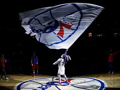 The Sixers announced they are doing away with their old mascot Hip Hop and will be replacing it with a Philadelphia-themed animal. (AP Photo/Matt Slocum)