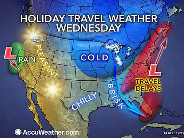 This AccuWeather.com graphic shows what those traveling for the Thanksgiving holiday can expect on Wednesday.