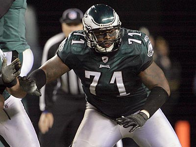 Jason Peters held Giants defensive end Osi Umenyiora without a sack in Sunday´s win. (Yong Kim/Staff Photographer)