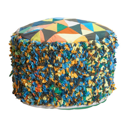 Rag rug hassock and pillow from fair-trade retailer Ten THousand Villages.<br />www.tenthousandvillages.com