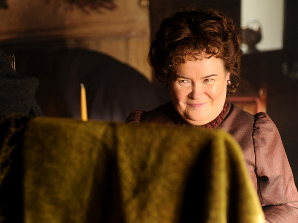 "This image released by EchoLight Studios shows Susan Boyle from the film, ""The Christmas Candle."" (AP Photo/Echolight Studios)"