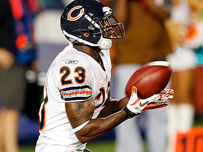 Chicago Bears punt returner Devin Hester is more than capable of breaking open a game with a big return.  (AP Photo/Paul Spinelli)