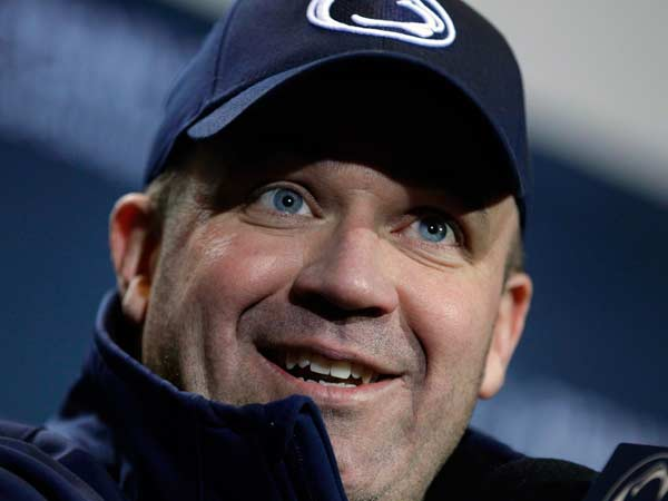 Penn State head coach Bill O´Brien talks with the media after a 24-21 overtime win over Wisconsin in an NCAA college football game in State College, Pa., Saturday, Nov. 24, 2012. (Gene J. Puskar/AP)