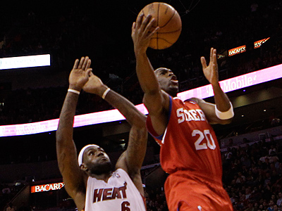 Jodie Meeks scored 21 points off the bench for the Sixers against the Heat. (AP Photo/Lynne Sladky)