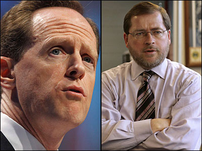 U.S. Sen. Pat Toomey (R-Pa., left) and no-tax hike lobbyist Grover Norquist.