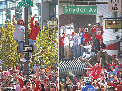 Crowds were thick from Center City into South Philadelphia during the Phillies´ 2008 World Series Parade. (Clem Murray and Alejandro A. Alvarez / Staff Photographers)