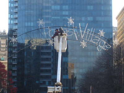 "Crews had removed the word ""Christmas"" from the sign at Dilworth Plaza. (Vance Lehmkuhl / Staff)"