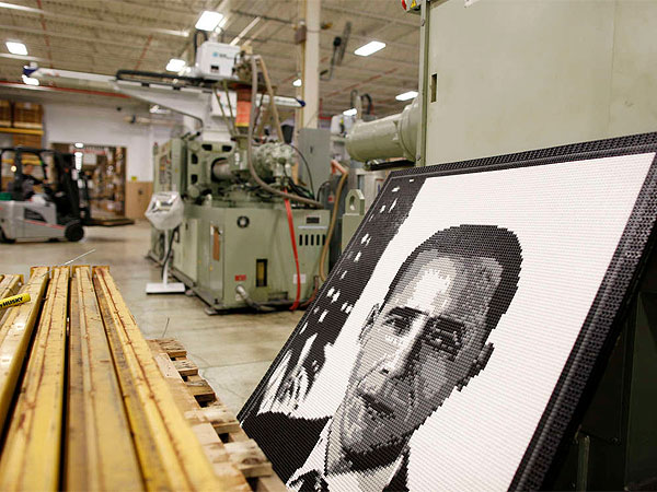 A portrait of President Obama made from K´Nex pieces four years ago will greet the president when he visits the Hatfield factory Friday. (Michael S. Wirtz / Staff Photographer)